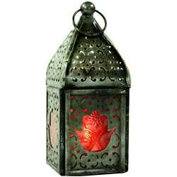 Guru-Shop Laterne Orientalische Metall/Glas Laterne in.. rot