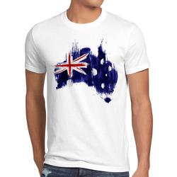 style3 Print-Shirt Herren T-Shirt Flagge Australien Fußball Sport Australia WM EM Fahne weiß L