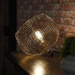 Livin24 Tischlampe Fay gold Korb Ø 33 cm