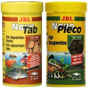 JBL NovoTab Alleinfutter für fleischfressende Aquarienfische, Tabletten 250 ml, 30240 & NovoPleco Alleinfutter für kleine Saugwelse, Tabletten 250 ml, 30311