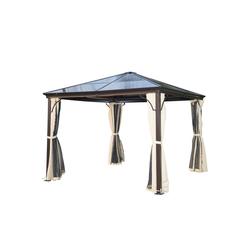 Outsunny Pavillon Luxus Pavillon mit lichtdurchlässigem Dach