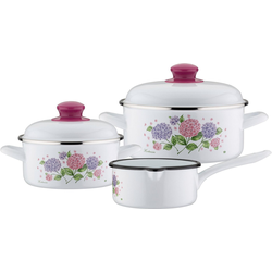 GSW Topf-Set Hortensie, Stahl-Emaille, (Set, 5-tlg), Induktion