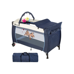 tectake Baby-Reisebett Kinderreisebett Hund mit Wickelauflage blau