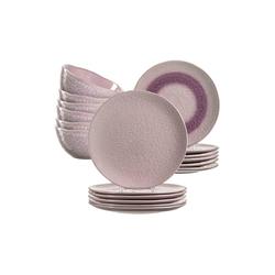 LEONARDO Geschirr-Set MATERA Geschirr Tafelservice rosa 18-teilig (18-tlg), Keramik