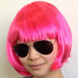 Perücke Damen Kurzhaar glatt Karneval Fasching Party - rosa