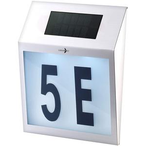 Lunartec Solar Hausnummer: Solar-LED-Hausnummernleuchte mit Edelstahl-Gehäuse und Licht-Sensor (Hausnummer Beleuchtung)