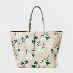 Floral Print Reversible Tie Closure Magnetic Closure Tote Handbag - A New Day , Multicolor/Floral
