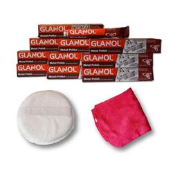 Autowaschbürste Politur Metallpolitur Poliermittel Chrom Schutz, Glanol, (12-tlg)