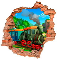 DesFoli Wandtattoo Comic Eisenbahn Lok B0736 bunt 70 cm x 68 cm