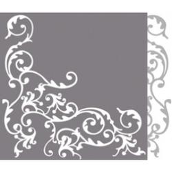 """Mank Airlaid Servietten Ornaments """"Pomp"""", 40 x 40 cm, 1/4 Falz, 60 g, Farbe: silber-weiss, 1 Karton = 6 x 50 Stück = 300 Servietten"""
