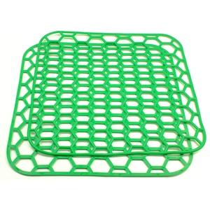"""Spülbeckeneinlage grün eckig 2 er Set 28cm Spülbeckenmatte Spülmatte Abtropfmatte Kühlschrankeinlage Matte Antirutschmatte""""EINWEG""""-verpackt"""