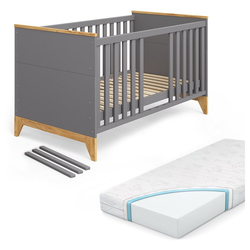VitaliSpa® Kinderbett Babybett Malia Gitterbett Beistellbett 140x70cm + Matratze