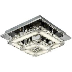 Esto Deckenleuchte, 18 Watt LED Deckenlampe Leuchte Esszimmer Chrom Kristallglas Esto 9740019 Feeling