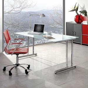 Glas Schreibtisch mit Chromgestell Bürotisch höhenverstellbar Domeek