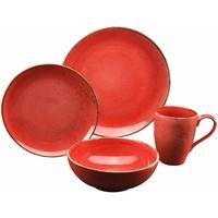 Frühstück-Set 4-tlg. Mediterran rot