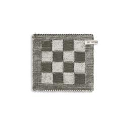 Knit Factory Geschirrtuch Knit Factory Topflappen Block Ecru/Khaki, (1-tlg)