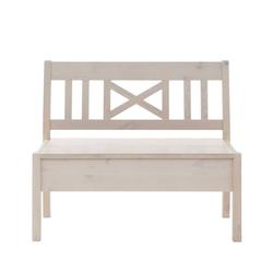 Landhaus Sitzbank mit Stauraum Weiß Kiefer massiv
