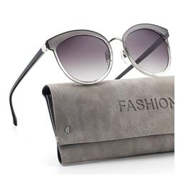 GlobaLink Sonnenbrille GlobaLink SonnenBrille 01 Damen Retro Sonnenbrille - Avoalre Vintage runde Sonnenbrille Klassischer Designer-Stil - UV400-Schutz grau