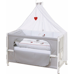 roba® Babybett Room bed - Dekor Adam und Eule, als Beistell-, Kinder- und Juniorbett verwendbar