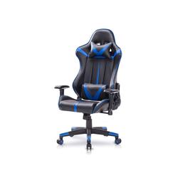 Woltu Gaming-Stuhl Bürostuhl mit Kopf- und Lendenkissen blau