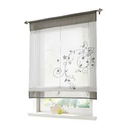 Raffrollo Bestickt Raffgardine Vorhang Gardine Fenstervorhang Scheibengardinen, i@home, mit Schlaufen grau 100 cm x 140 cm