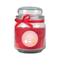 HS Candle Duftkerze (1-tlg), Frohe Ostern - Bis zu 110h Brenndauer - Kerze im Bonbon Glas, Kerze mit Motiv zur Osterzeit, vers. Düfte / Größen rot Ø 9 cm x 13 cm