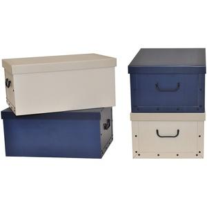 """Kreher Set 4 Stück Deko Karton """"Classic Stripes"""". Stabile Kartons aus Pappe in Creme und Blau. XL Volumen mit Kunststoff Griffen und Deckel. Preiswert und schön. Maße ca. 51 x 37 x 24 cm"""