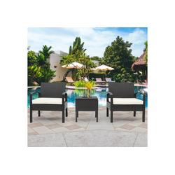 Merax Balkonset Da Nang, Polyrattan 1 Tisch + 2 Sessel für 2 Personen Balkonmöbel Set braun