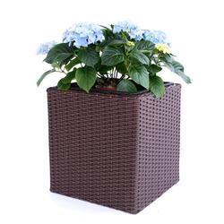 Pflanzkübel Polyrattan quadratisch 30x30x30cm braun.