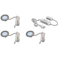 Hera LED-Möbeleinbaulampe FR 55 Edelstahloptik 3er-Set