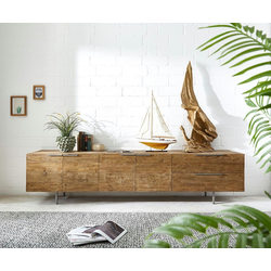 DELIFE Sideboard Pascale, Natur 230x48x55 cm Exotic Wood Sideboard