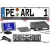 Lescars Funk-Ultraschall-Einparkhilfe in Kennzeichen-Halter, mit LCD-Display
