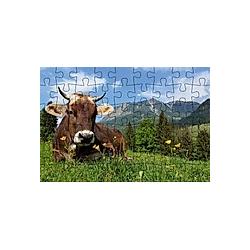 Puzzle-Postkarte Allgäu  Motiv: Kuh auf Wiese