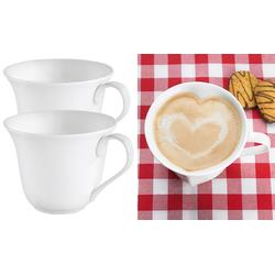 2er-Set Porzellan-Tassen in Herzform