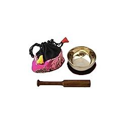 Klangschale mini (50 g) mit Unterlage  Klöppel und Beutel (pink)