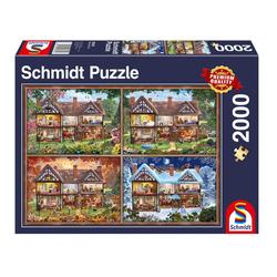 Schmidt Spiele Puzzle Jahreszeiten Haus Panorama, 2000 Puzzleteile