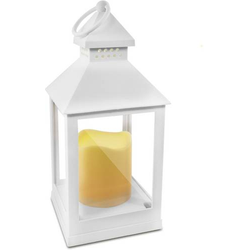 LED Laterne realistisch flackernd 82350 Weiß
