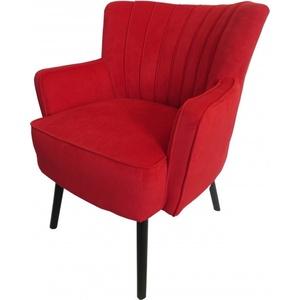 Casa Padrino Retro Salon Sessel Rot / Schwarz - Cocktailsessel 60er Jahre Stuhl