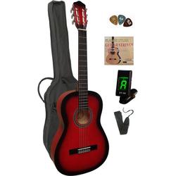 Konzertgitarre 4/4, inkl. Gitarrentasche, Gitarrengurt, Saiten, 3 Plektren und Stimmgerät rot