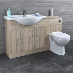 HudsonReed Waschtisch und Toiletten Set - Eiche 1340mm - ovale Toilette