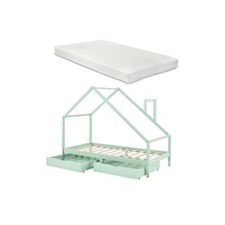 en.casa Kinderbett, Assling Hausbett Jugendbett mit 2 Schubkasten und Matratze 90x200cm Mintgrün grün