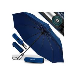 KESSER Taschenregenschirm, Regenschutz, Schirm sturmfest bis 150 km/h - inkl. Schirm-Tasche & Reise-Etui - Taschenschirm mit Auf-Zu-Automatik, klein - leicht & kompakt - Teflon-Beschichtung blau