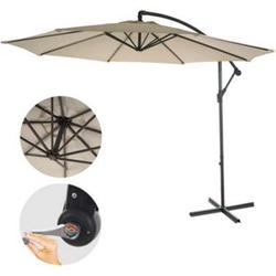 Ampelschirm Terni, Sonnenschirm Sonnenschutz, Ø 3m neigbar, Polyester/Stahl 11kg ~ creme ohne Ständer