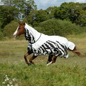 Bucas Buzz-Off Rain Zebra Full Neck - Fliegendecke/Ekzemerdecke, im Rückenbereich wasserdicht und atmungsaktiv, Groesse:165