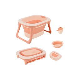 HOMCOM Babywanne Babybadewanne mit Waschbecken und Shampoobecher rosa