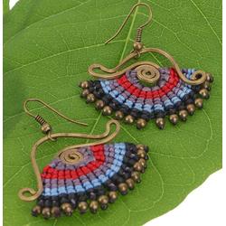 Guru-Shop Paar Ohrhänger Hängeohrring aus Messing mit Makrameee - rot/blau