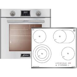 Kaiser Küchengeräte Backofen-Set EH 6324 W+KCT 6715 FW, Einbau-Backofen 60cm in Weiß/Elektro Backofen/Elektro-Kochfeld 60 cm/Autark/Drehspieß/Grill/Heißluft/Selbstreinigung