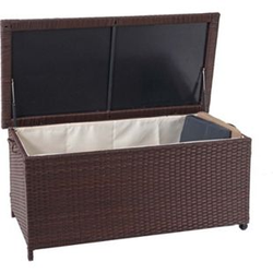 Poly-Rattan Kissenbox MCW-D88, Gartentruhe Auflagenbox Truhe ~ Premium braun, 51x100x50cm 170l