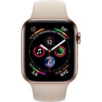 Apple Watch Series 4 GPS + Cellular 40 mm Edelstahlgehäuse gold mit Sportarmband stein