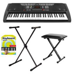 FunKey 61 Keyboard Schwarz Set inkl. Keyboardständer, Bank und Keyboardschule